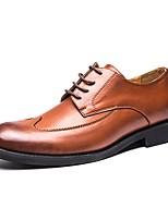 Недорогие -Муж. обувь Кожа Весна Осень Удобная обувь Туфли на шнуровке для Повседневные Офис и карьера Черный Коричневый
