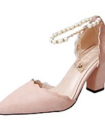 cheap -Women's Shoes PU Summer Comfort Heels Chunky Heel Pointed Toe Pearl for Casual Party & Evening Black Gray Pink