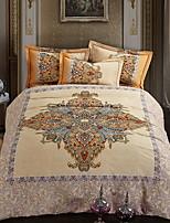 cheap -Duvet Cover Sets Floral Geometric Pattern 4 Piece Linen/Cotton Reactive Print Linen/Cotton 1pc Duvet Cover 2pcs Shams 1pc Flat Sheet