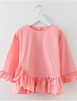 preiswerte -Mädchen Kleid Alltag Festtage Solide Baumwolle Frühling Sommer Langarm Einfach Aktiv Blau Rosa