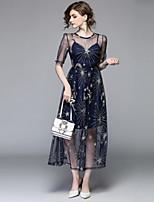 Недорогие -Жен. Винтаж Изысканный А-силуэт С летящей юбкой Платье - Однотонный, Сетка Вышивка Макси