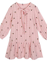 cheap -Girl's Daily Solid Polka Dot Dress, Cotton Spring Fall Long Sleeves Simple Blushing Pink