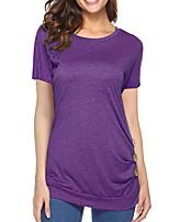 abordables -Tee-shirt Femme,Couleur Pleine Actif Basique