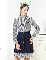 cheap -UNE FLEUR Women's Shirt - Striped, Pleated Skirt Shirt Collar