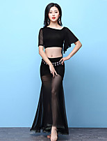 cheap -Belly Dance Outfits Women's Training Modal Split Joint Short Sleeves Dropped Skirts Top