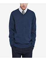 cheap -Men's Simple Long Sleeves Pullover - Solid Color V Neck