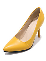 cheap -Women's Shoes PU Spring Fall Novelty Comfort Heels Stiletto Heel Pointed Toe for Office & Career Party & Evening Black Yellow Blue Pink