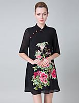 abordables -Femme Rétro Chinoiserie Trapèze Robe - Brodée, Fleur Au dessus du genou