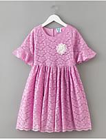 preiswerte -Mädchen Kleid Alltag Solide Polyester Frühling Sommer Kurzarm Einfach Weiß Purpur
