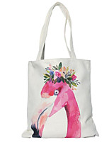 cheap -Women's Bags Linen Cotton Shoulder Bag Pattern / Print for Casual Spring Fall White Fuchsia
