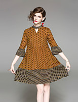 cheap -Women's Street chic Flare Sleeve A Line Sheath Dress - Floral, Print