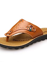 cheap -Men's Shoes Leather Spring Summer Comfort Slippers & Flip-Flops for Casual Outdoor Black Orange Brown