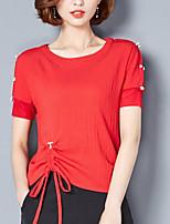 abordables -Tee-shirt Femme,Couleur Pleine Style classique Basique