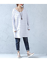 cheap -Women's T-shirt - Striped U Neck