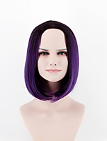 cheap -Synthetic Wig Straight Natural Hairline Purple Women's Capless Natural Wigs Short Synthetic Hair