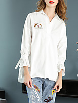 cheap -Women's Vintage Cotton Blouse - Solid Colored Shirt Collar