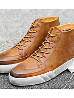 baratos -Homens sapatos Couro Inverno Outono Conforto Tênis para Casual Preto Camel Khaki