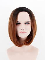 cheap -Synthetic Wig Straight Natural Hairline Brown Women's Capless Natural Wigs Short Synthetic Hair