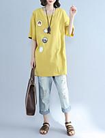 abordables -Mujer Chic de Calle Camiseta Corte Ancho Un Color