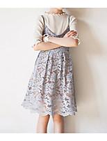 abordables -Robe Fille de Quotidien Couleur Pleine Coton Printemps Eté simple Décontracté Rose Claire Gris