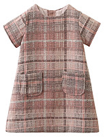 cheap -Girl's Daily Going out Solid Print Check Dress, Cotton Acrylic Polyester Spring Summer Short Sleeves Simple Vintage Blushing Pink Gray