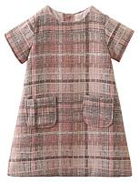abordables -Robe Fille de Quotidien Sortie Couleur Pleine Imprimé Damier Coton Acrylique Polyester Printemps Eté Manches Courtes simple Rétro Rose