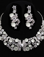 cheap -Women's Rhinestone Silver Plated Bowknot Jewelry Set 1 Necklace / Earrings - Fashion / European Bowknot Silver Jewelry Set For Wedding /