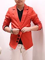abordables -Garçon Soirée Quotidien Couleur Pleine Costume & Blazer, Cuirs Particuliers Printemps Automne Manches Longues Décontracté Noir Orange