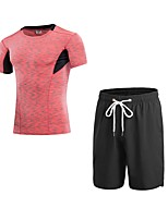 cheap -Men's Activewear Set Short Sleeves Short Pant Breathability Clothing Suits for Walking Polyester Green Blue Red/White Grey S M L XL XXL