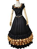 abordables -Victorien Rococo Costume Femme Adulte Tenue Or + Noir Vintage Cosplay Satin Elastique Manches Courtes Gigot / Ballon