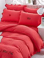 cheap -Duvet Cover Sets Solid Colored 4 Piece Poly/Cotton Polyster Yarn Dyed Poly/Cotton Polyster 1pc Duvet Cover 2pcs Shams 1pc Flat Sheet