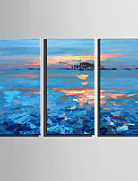 cheap -Oil Painting Hand Painted - Abstract Landscape Modern Canvas Three Panels