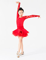 cheap -Latin Dance Dresses Girls' Training Performance Milk Fiber Lace Crystals / Rhinestones Long Sleeves Natural Dress