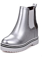 cheap -Women's Shoes Leatherette Winter Fashion Boots Boots Creepers Round Toe Booties/Ankle Boots for Casual Silver Red Pink