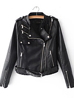 cheap -Women's Going out Punk & Gothic Leather Jacket - Solid Colored