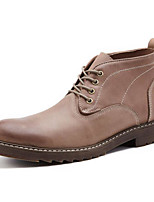 cheap -Men's Shoes Cowhide Nappa Leather Fall Winter Combat Boots Comfort Boots Booties/Ankle Boots for Casual Coffee