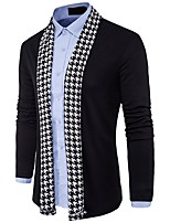 cheap -Men's Long Sleeves Cardigan - Check V Neck