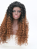 cheap -Synthetic Lace Front Wig Kinky Curly Ombre Hair Brown Women's Lace Front Natural Wigs Long Synthetic Hair