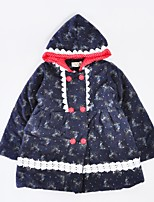 cheap -Girls' Daily Holiday Animal Print Down & Cotton Padded, Cotton Winter Long Sleeves Active Navy Blue