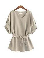 abordables -Tee-shirt Femme, Couleur Pleine Col en V Ample