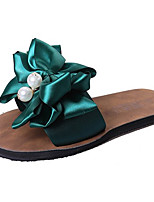 cheap -Women's Shoes Fabric Spring Comfort Slippers & Flip-Flops Flat Heel Round Toe Bowknot for Casual Black Green
