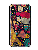 abordables -Funda Para Apple iPhone X iPhone 8 Diseños Funda Trasera Torre Eiffel Dura Vidrio Templado para iPhone X iPhone 8 Plus iPhone 8 iPhone 7
