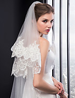 cheap -Two-tier Embroidery Wedding Veil Chapel Veils 53 Embroidery Tulle