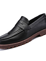 cheap -Men's Shoes Nappa Leather Spring Fall Comfort Loafers & Slip-Ons for Outdoor Black Brown