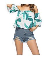 cheap -Women's T-shirt - Geometric Boat Neck