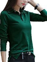 cheap -Women's Active Basic Plus Size Slim T-shirt - Solid Colored Shirt Collar