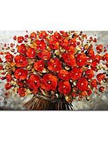 preiswerte -Hang-Ölgemälde Handgemalte Abstrakt Blumenmuster/Botanisch Horizontal, Zeitgenössisch Modern Segeltuch Haus Dekoration Ein Panel