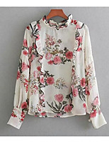 cheap -Women's Basic Puff Sleeve Blouse - Floral, Print Stand