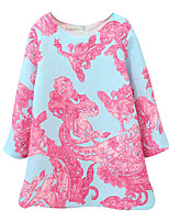 cheap -Girl's Daily Solid Floral Dress, Cotton Linen Bamboo Fiber Acrylic Spring Long Sleeves Simple Vintage Blushing Pink