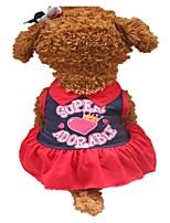 Недорогие -Собаки Платья Одежда для собак Лозунг Темно-синий Желтый Хлопок Костюм Для домашних животных Мода
